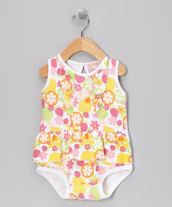 Yellow Fruit Skirted Bodysuit