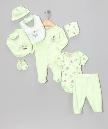 Green 'Love Bug' Eight-Piece Layette Set - Infant