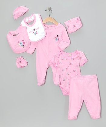 Light Pink 'Love Bug' Eight-Piece Layette Set - Infant