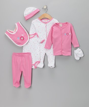 Pink Flower Heart 7-Piece Layette Set