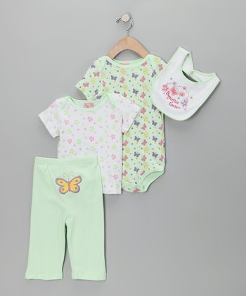 Green 'Butterflies Garden' Layette Set