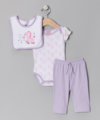 Purple Pony Bodysuit Set