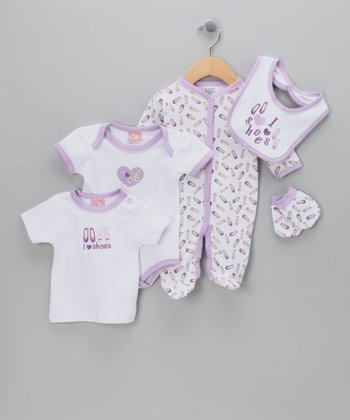 Purple 'I Love Shoes' Five-Piece Layette Set