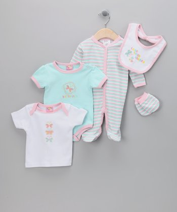 Pink & Blue 'Love Your Garden' Five-Piece Layette Set