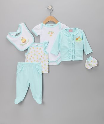 Blue 'Delicious' 6-Piece Layette Set - Infant