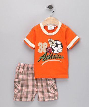 Orange 'Athletics' Tee & Shorts - Infant
