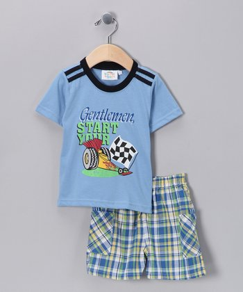 Sweet & Soft Light Blue Racecar Tee & Shorts - Infant