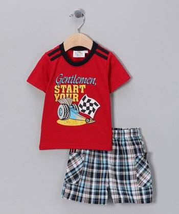 Red Racecar Tee & Shorts - Infant