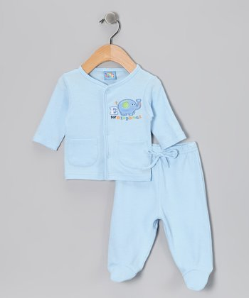 Light Blue 'Elephant' Cardigan & Footie Pants - Infant