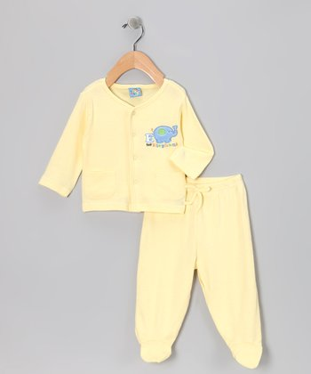 Yellow 'Elephant' Cardigan & Footie Pants - Infant