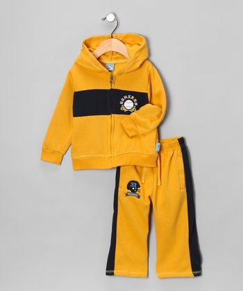Yellow 'Homerun' Hoodie & Pants - Infant