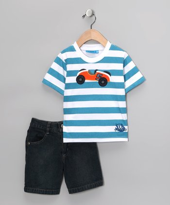 Blue Stripe Race Car Tee & Shorts