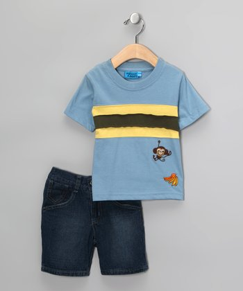 Blue & Yellow Stripe Monkey Tee & Shorts