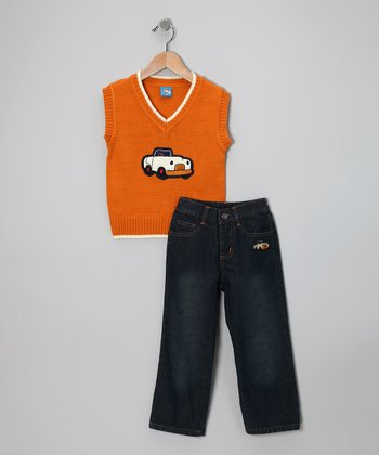 Orange Car Sweater Vest & Jeans - Toddler