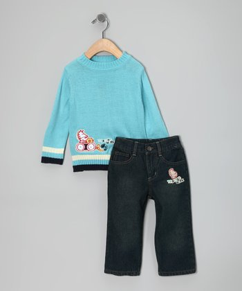 Light Blue 'Tractor Work' Sweater & Jeans - Toddler
