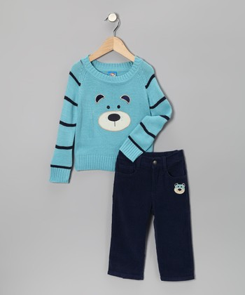 Light Blue Bear Sweater & Pants - Toddler