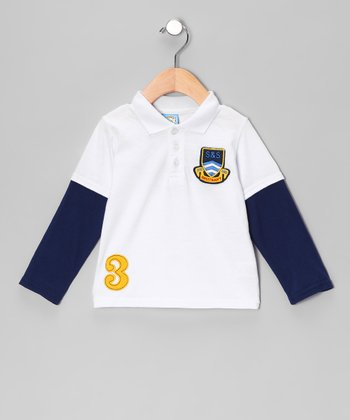 White 'S&S' Layered Polo - Infant