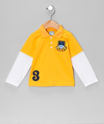 Yellow 'S&S' Layered Polo - Infant