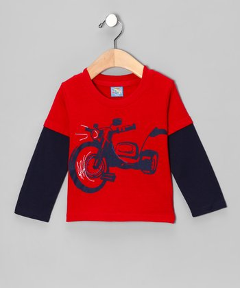 Red Motorcycle Layered Tee