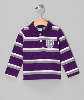 Purple Stripe Crest Polo - Infant