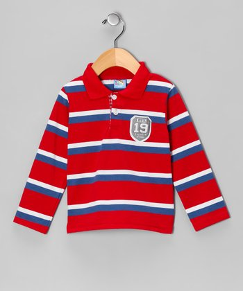 Red Stripe Crest Polo - Infant