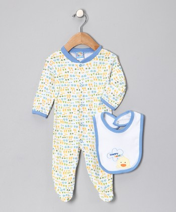 Blue 'Happy Day' Footie & Bib