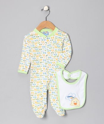 Green Duck 'Happy Day' Footie & Bib