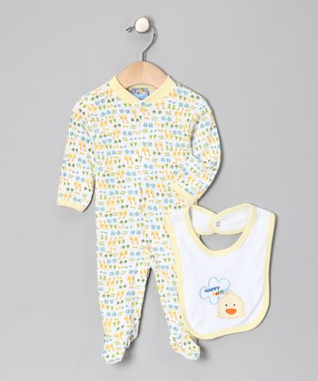 Yellow 'Happy Day' Footie & Bib