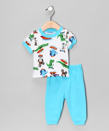 Sweet & Soft Blue Animals at Play Tee & Pants - Infant