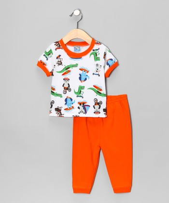 Sweet & Soft Orange Animals at Play Tee & Pants - Infant