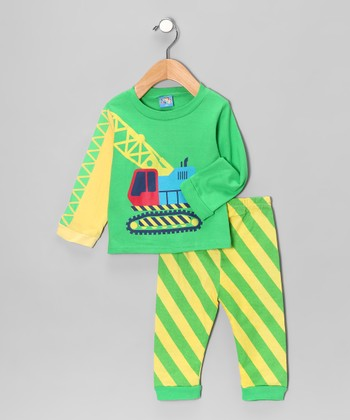 Sweet & Soft Green Digger Long-Sleeve Tee & Pants - Infant