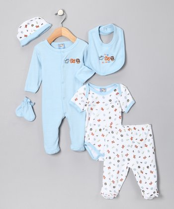 Sweet & Soft Light Blue 'Love Animals' Six-Piece Layette Set - Infant