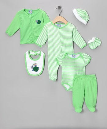 Green 'Wave Rider' Seven-Piece Layette Set