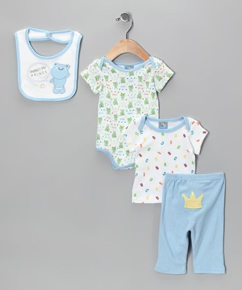 Blue 'Mommy's Little Prince' Four-Piece Layette Set