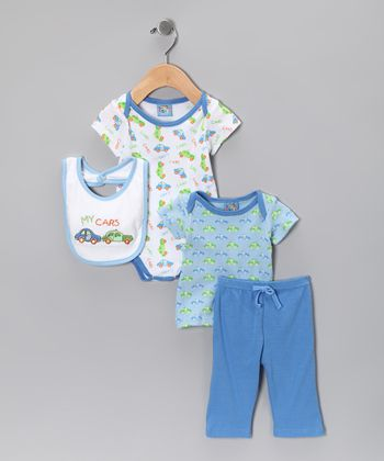 Blue 'My Cars' Four-Piece Layette Set