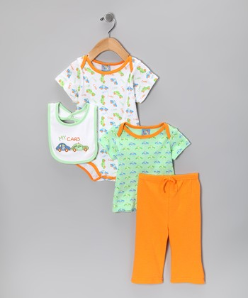 Orange 'My Cars' Pants Set