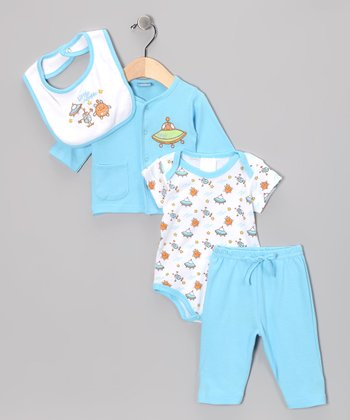 Blue 'Little Aliens' Pants Set