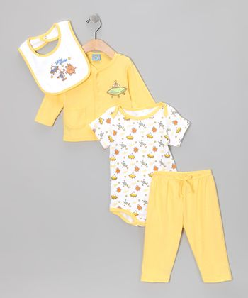 Yellow 'Little Aliens' Pants Set