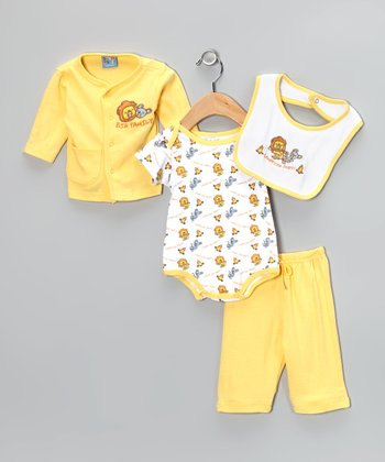 Yellow 'Campfire Party' Pants Set