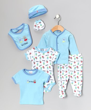 Light Blue 'Best Friends' Seven-Piece Layette Set