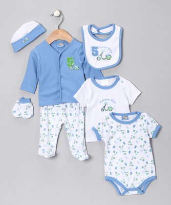 Sweet & Soft Blue 'Awesome Ride' Seven-Piece Layette Set - Infant