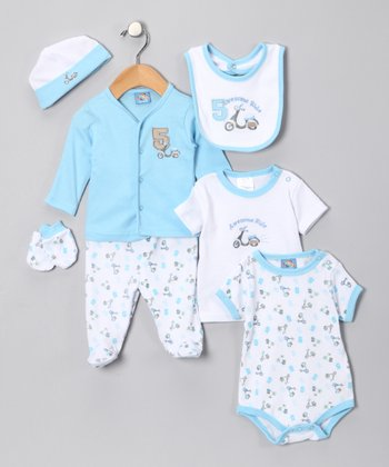 Sweet & Soft Light Blue 'Awesome Ride' Seven-Piece Layette Set - Infant