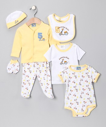 Yellow 'Awesome Ride' Seven-Piece Layette Set