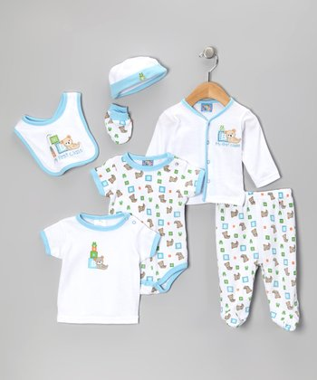 White & Light Blue Teddy Bear 7-Piece Layette Set