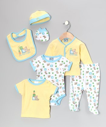 Yellow & Blue Teddy Bear 7-Piece Layette Set