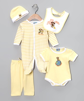 Yellow 'Travel Together' Five-Piece Layette Set