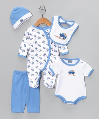 Sweet & Soft Blue 'Work Hard' Five-Piece Layette Set - Infant