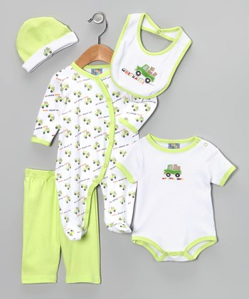 Sweet & Soft Green 'Work Hard' Five-Piece Layette Set - Infant