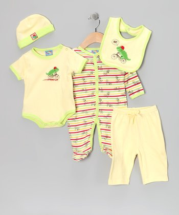 Yellow Bicycle Five-Piece Layette Set
