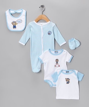 Blue 'Hang in There' Five-Piece Layette Set - Infant